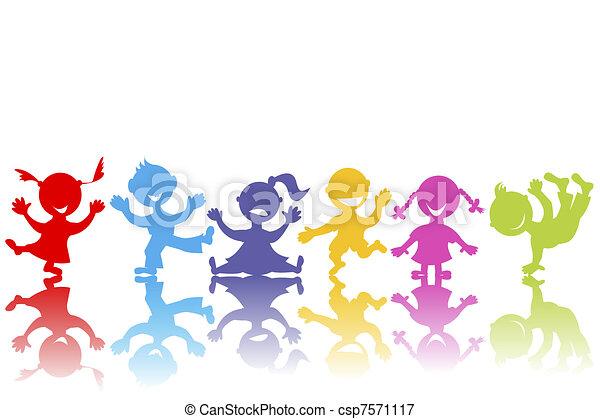húzott, kéz, gyerekek, színezett - csp7571117