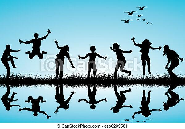 húzott, kéz, játék, gyerekek, természet - csp6293581