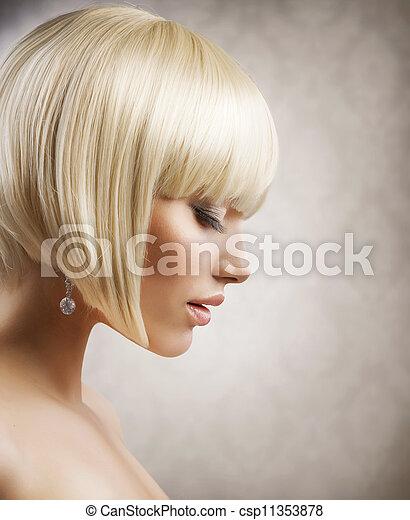 haircut., frizura, leány, hair., egészséges, szőke, rövid, gyönyörű - csp11353878