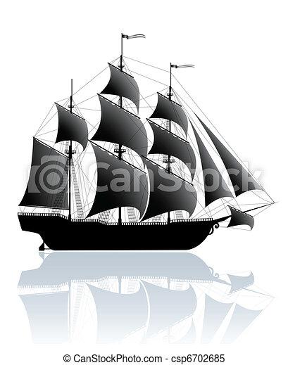 hajó, fekete - csp6702685
