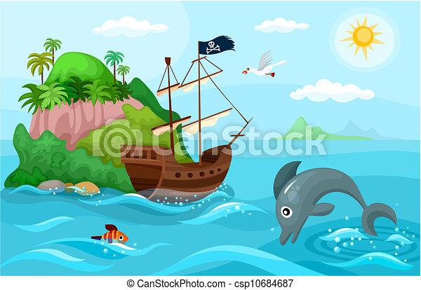 hajó, kalóz - csp10684687