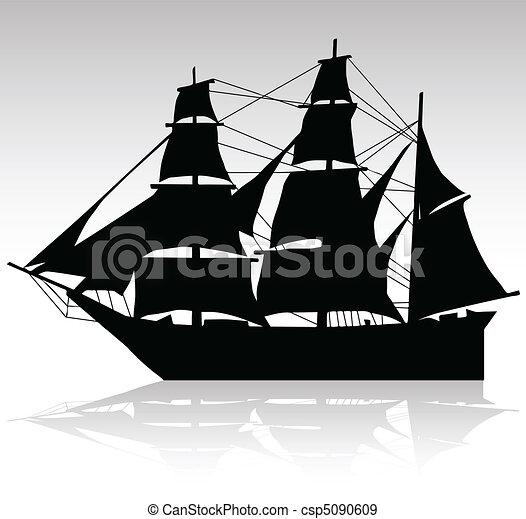 hajó, vektor, öreg, körvonal, vitorlázás - csp5090609