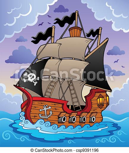hajó, viharos, kalóz, tenger - csp9391196