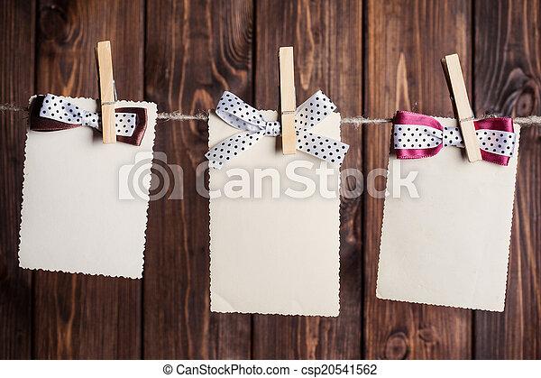 hajóorr, ruhaszárító kötél, ellen, lap papír, öreg, három, függő - csp20541562