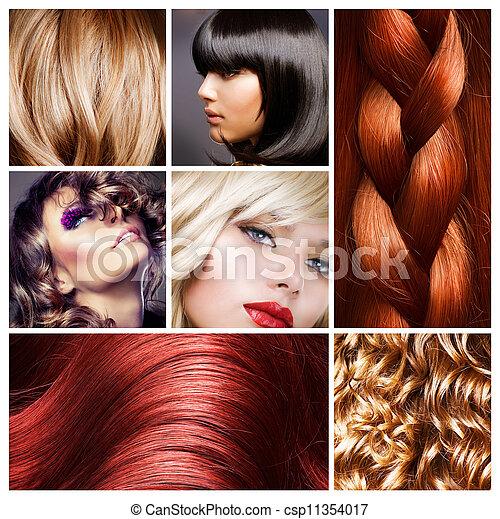 haj, frizura, collage. - csp11354017