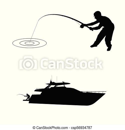 halász, árnykép, csónakázik - csp56934787