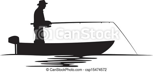 halász, árnykép, csónakázik - csp15474572