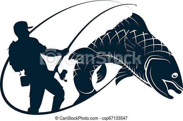 halász, árnykép, fish - csp67133547