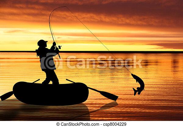 halászat, ábra, slicc - csp8004229
