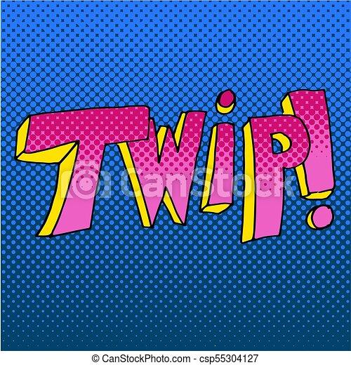 hangzik, szó, twip, hatás, könyv, komikus - csp55304127