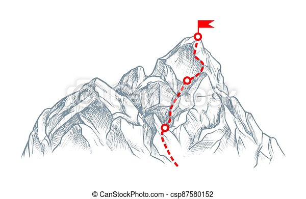 hegy, elszigetelt, white tető, rout, skicc - csp87580152