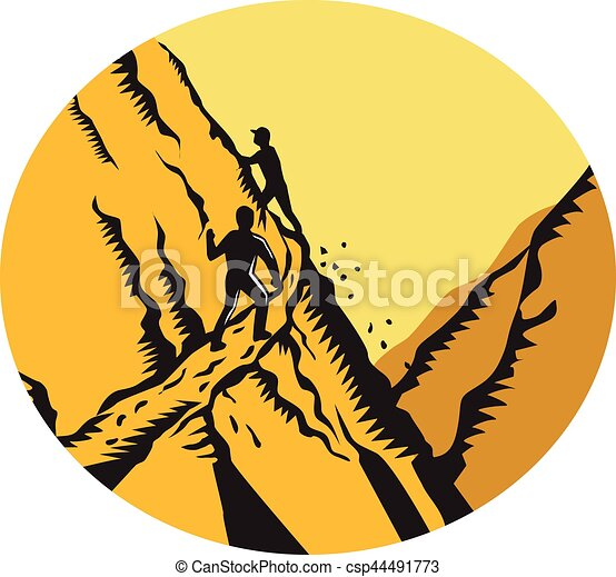 hegy, fametszet, trampers, út, ovális, mászó, túlzott - csp44491773