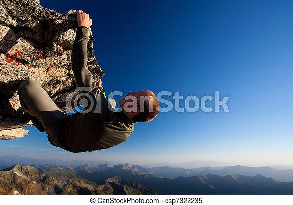 hegy, fiatal, magas, lőtávolság, felül, ringat mászik, ember - csp7322235