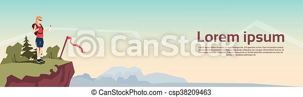 hegy, nő, hátizsák, kiránduló, hegy, háttér, utazó, transzparens, áll - csp38209463