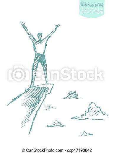 hegy, skicc, siker, vektor, húzott, kúszónövény, ember - csp47198842