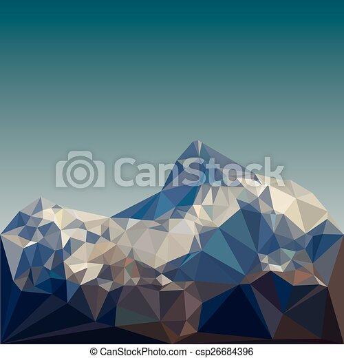 hegy, vektor, alacsony, poly - csp26684396