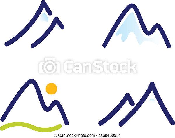 hegyek, állhatatos, dombok, havas, ikonok, elszigetelt, fehér, vagy - csp8450954