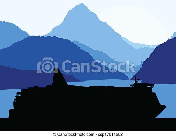 hegyek, fogalom, utazás, vektor, háttér, komphajó - csp17011602