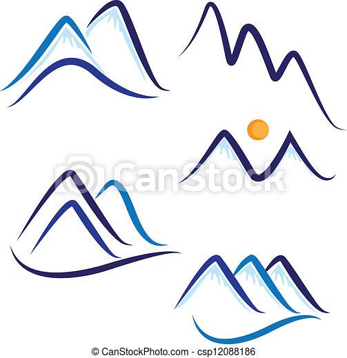 hegyek, hó, állhatatos, jel, stilizált - csp12088186