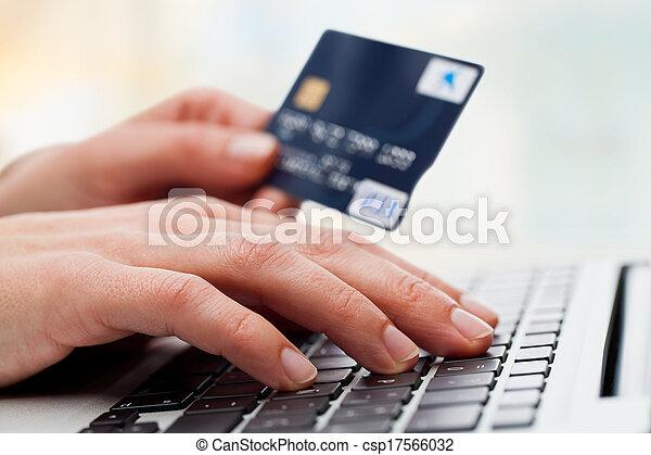 hitel, laptop, gépelés, card., kéz - csp17566032