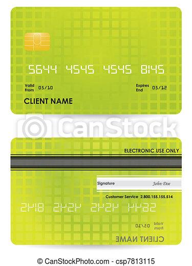 hitelkártya, vektor, hát, elülső - csp7813115