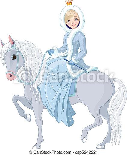 horse., lovaglás, hercegnő, tél - csp5242221