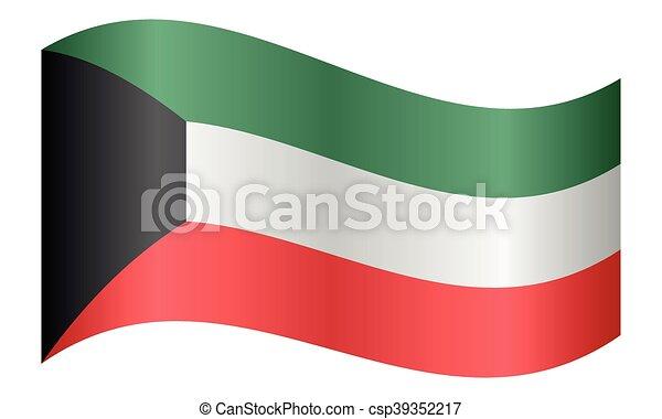 hullámzás, kuwait lobogó, white háttér - csp39352217