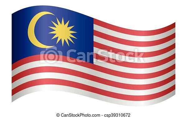 hullámzás, malaysia lobogó, white háttér - csp39310672