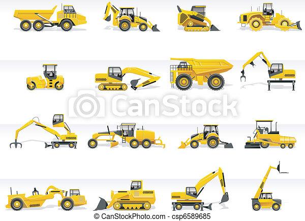 icon., vektor, szállítás, traktor - csp6589685