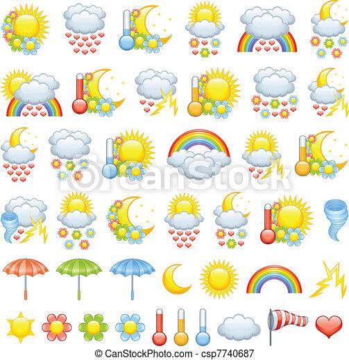 időjárás, szeret, ikonok - csp7740687
