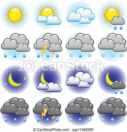 időjárás, vektor, ikonok - csp11462990
