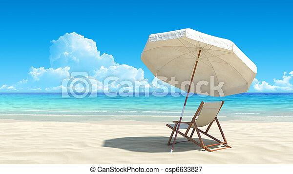 idillikus, esernyő, tropikus, homok, szék, tengerpart - csp6633827