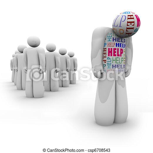 igények, segítség, segítség, -, bús, személy, egyedül - csp6708543