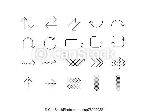 ikon, fehér, jelkép, nyíl, állhatatos, háttér. - csp78992932