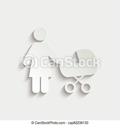ikon, icon., sétáló, nő, anya, gyermek - csp82236130