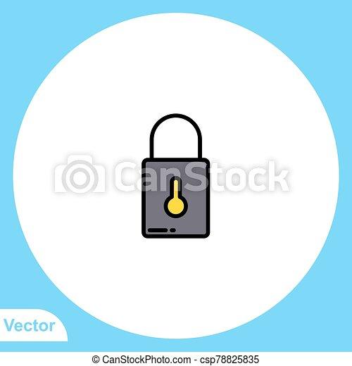 ikon, lakat, jelkép, lakás, vektor, aláír - csp78825835