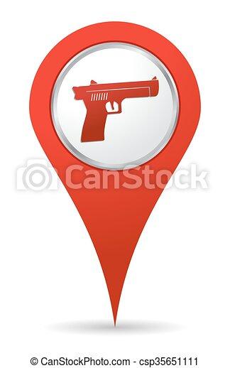 ikon, pisztoly, elhelyezés - csp35651111