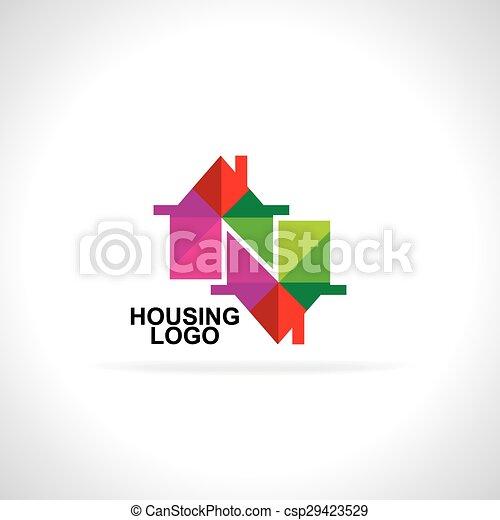 ikon, színes, épület, vektor - csp29423529