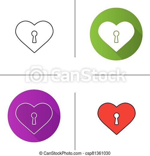 ikon, szív, kulcslyuk - csp81361030