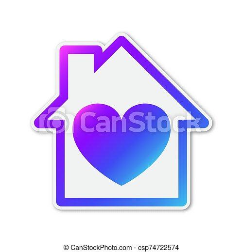 ikon, szív, vektor, alakzat., színes, épület - csp74722574