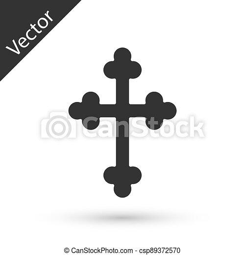 ikon, vektor, keresztény, szürke, kereszt, fehér, templom, cross., háttér., elszigetelt - csp89372570
