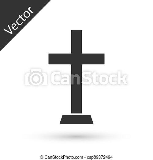ikon, vektor, keresztény, szürke, kereszt, fehér, templom, cross., háttér., elszigetelt - csp89372494
