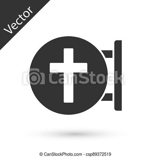ikon, vektor, keresztény, szürke, kereszt, fehér, templom, cross., háttér., elszigetelt - csp89372519