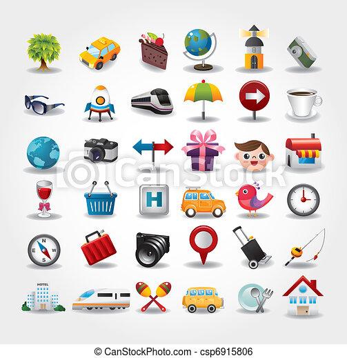 ikonok, collection., utazás, ábra, vektor, jelkép - csp6915806
