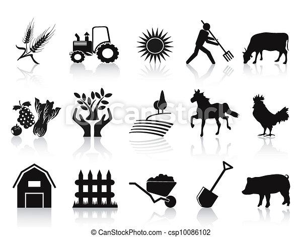 ikonok, fekete, állhatatos, tanya, mezőgazdaság - csp10086102