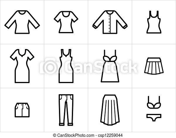 ikonok, fekete, szerkeszt, nők, állhatatos, white., colorize., 12, öltözet, könnyen, resize - csp12259044