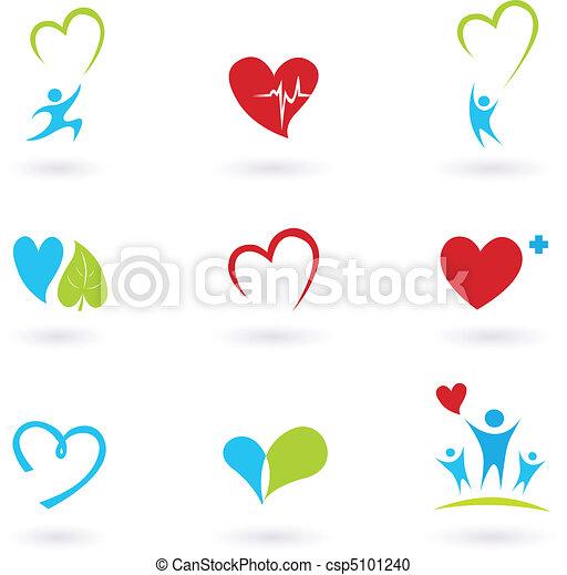 ikonok, orvosi, fehér, egészség - csp5101240