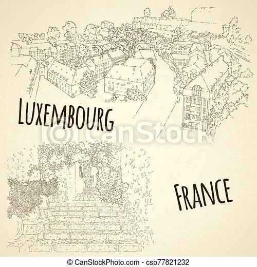 illustration., card., concept., vektor, sketching., idegenforgalom, saint-paul-de-vence., luxembourg., egyenes, állhatatos, város, utazás, művészet, franciaország, silhouette. - csp77821232