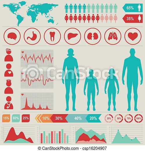 infographic, állhatatos, illustration., elements., orvosi térkép, vektor, más - csp16204907
