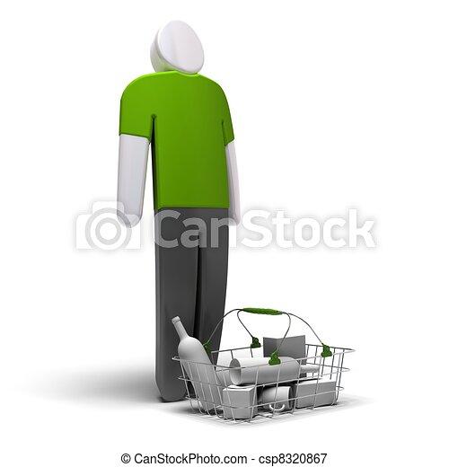 ingóságok, render, átlagos, belső, elülső, trikó, háttér, zöld, tiszta, kosár, fehér, fogyasztó, 3 - csp8320867